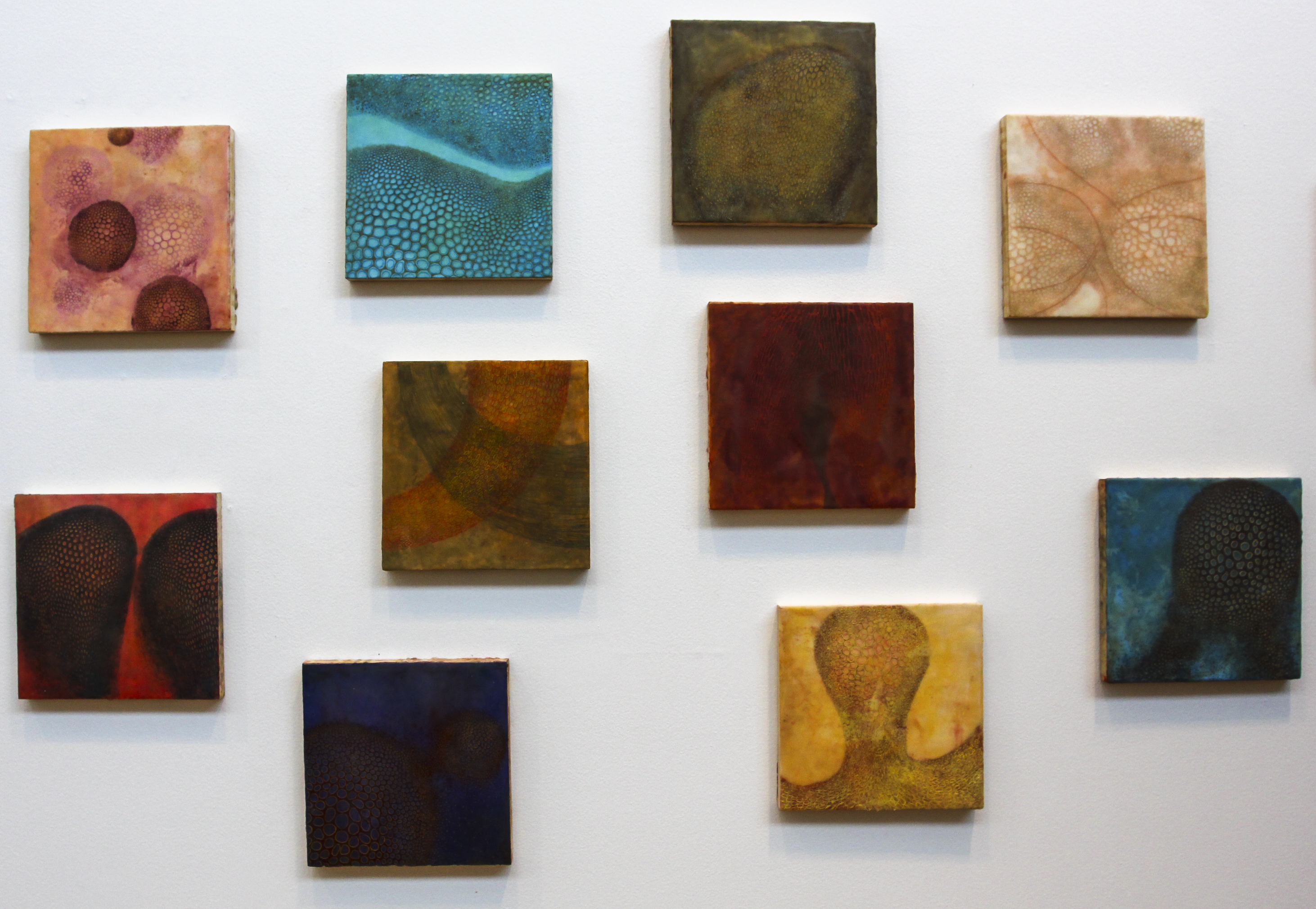 """In Coaxial Focus, Brooks Barwick juxtaposes the clinical experience of looking through a microscope lens with the delicacy of nature. His encaustic paintings feature nuanced blues, reds and purples that draw the viewer in and capture the way light shines through the thinnest flower petal. Intricately formed, Barwick's work includes dots and scrapes within the paint to forge a sense of movement. """"I've been thinking a lot about biological forms, organic forms,"""" he said. """"It's about cosmic versus microscopic, big versus small."""""""