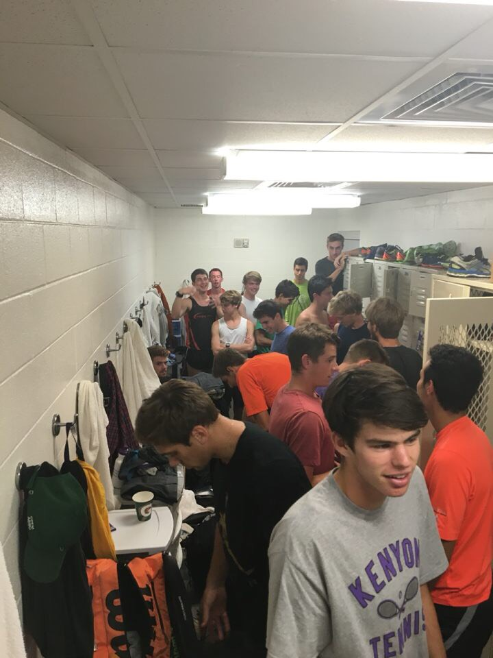 Players on Kenyon men's tennis and cross country teams stand in their new locker room. | Courtesy of Tommy Johnson