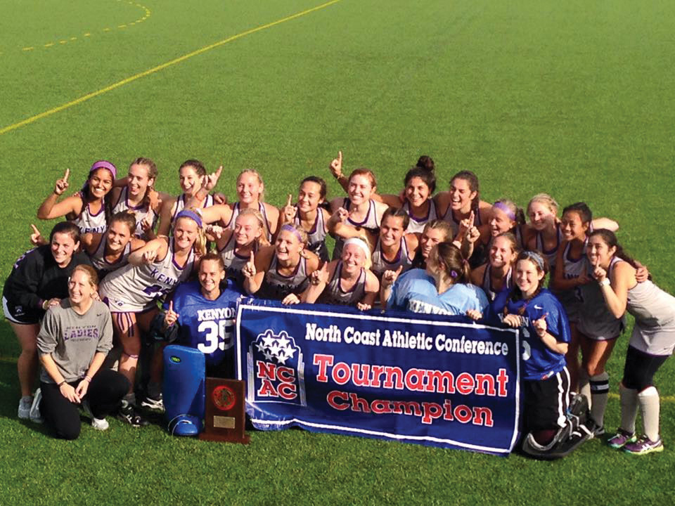 The Ladies pose with their NCAC championsip banner. | Courtesy of Lynne Cullen