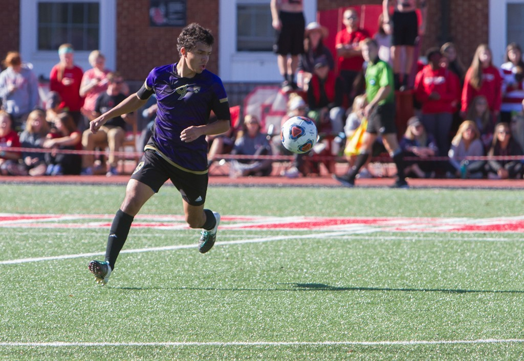 Alberto Carmona '19 corrals the ball in Kenyon's Sweet 16 victory over Lynchburg College on Nov. 13. | Courtesy of Kenyon Athletics
