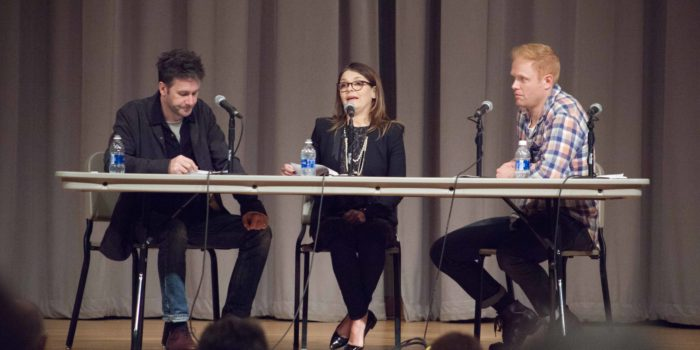 Alumni return for reading of TAPE, discussion about assault